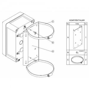 Кронштейн для крепления гермокоробок КМ-4, КМ-5, КМ-6, БПУ-1 на квадратную опору КМГ-4-01