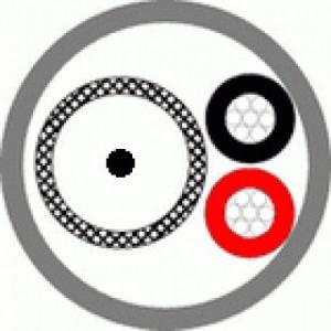 Кабель комбинированный для систем видеонаблюдения КВТ-П-2 2х0,35 черный